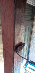 玄関 木部塗装①