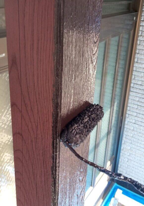 玄関 木部塗装